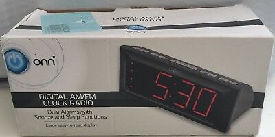 DIGITAL AM/FM CLOCK RADIO DUAL ALARMS - snooze and sleep function ONN