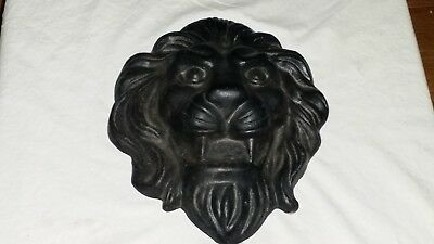 "Large Antique Vintage Cast Iron Lion Head 11"" by 9 1/4"" 9 lbs 8 oz"