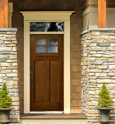 Fiberglass Mission Style 4 Lite Entry Door Unit With Transom