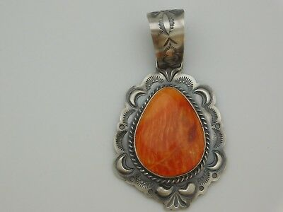 Native American Navajo Spiny Oyster Pendant Set In Sterling Silver Antique Look