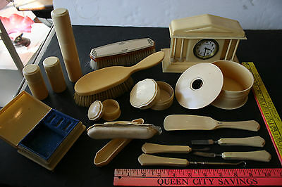 Lot of 16 Vintage Antique Celluloid French Ivory Clock Box & Vanity  Items