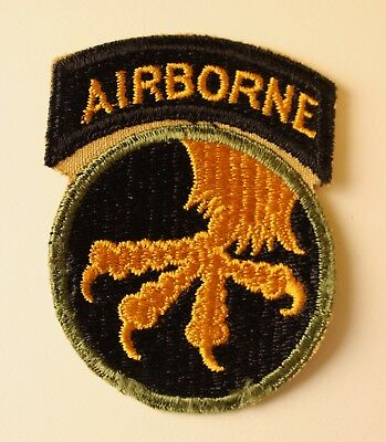 WWII US Army 17th Airborne Division Patch with Twill Attached Tab