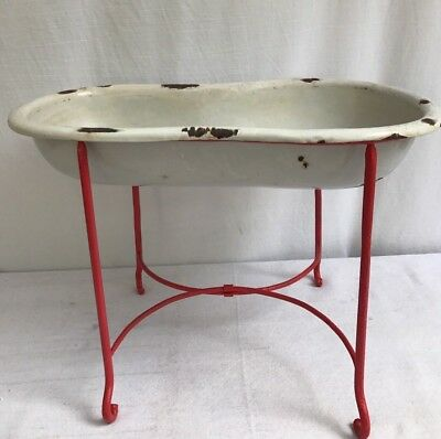 Antique French Red Sm. Enamel Baby Bathtub Basin & Iron Herb Plant Stand Rare