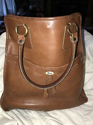 Bass Vintage caramel brown heavy duty Leather Purse tote excellent condition