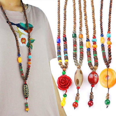 Vintage Tibetan Resin Wood Buddhist Buddha Prayer Beads Mala Long Bib Necklace