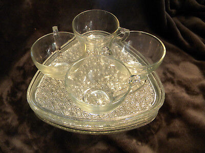 Indiana Glass Daisy & Button Triangle Shaped Clear Glass Snack Set of 4/GREAT