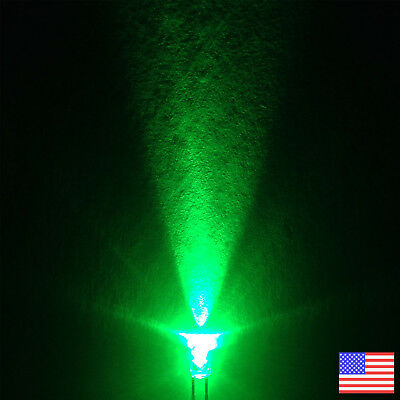 10x (10pcs) 3mm Round Green LED Bright Light -US Seller - Fast Free Shipping