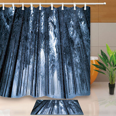 Snow Forest Landscape Decor Shower Curtain Waterproof Fabric & 12 Hook 71Inch