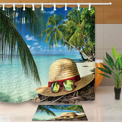 Summer Tropical Seaside Beach Shower Curtain Waterproof Fabric & 12 Hook 71Inch