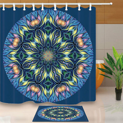 Noble Mandala Flower Bath Shower Curtain Set Waterproof Fabric & 12 Hook 71Inch