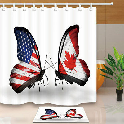 Butterfly With USA flag And CAN Flag Shower Curtain Fabric & 12 Hook 71Inch
