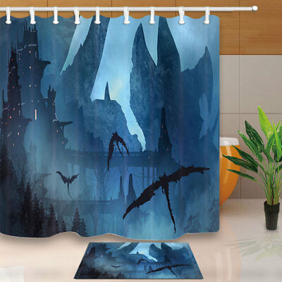 Bat Fly To Dark Castle Shower Curtain Set Waterproof Fabric & 12 Hook 71Inches