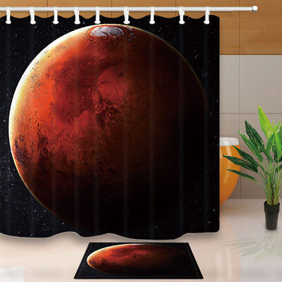 Beautiful Planet At Night Shower Curtain Waterproof Fabric & 12 Hook 71Inch