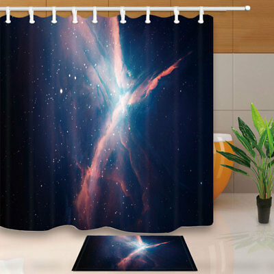 Beautiful Starry Sky At Night Shower Curtain Set & 12 Hooks Bathroom Fabric 71In