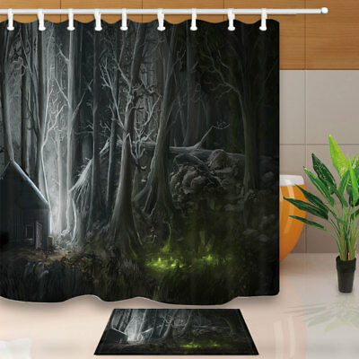 Black Forest Decor Shower Curtain Set Waterproof Fabric & 12 Hook 71X71 Inch