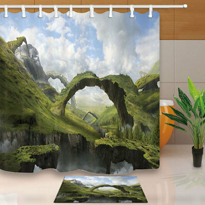 Maya Mountain View Waterproof Bathroom Fabric Shower Curtain & 12 Hooks 71*71""