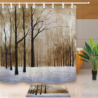 Winter Quiet Snowy Woods Polyester Bathroom Fabric Shower Curtain 71 Inch & Hook