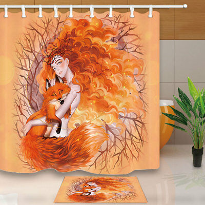 Autumn Beautiful Girl And Fox Shower Curtain Waterproof Fabric & 12 Hook 71Inch