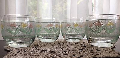 4 Mid Century Vintage Signed CULVER Roly Poly Floral Needlepoint Spring Glasses