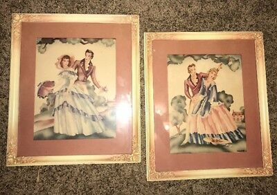 Vintage Lot Of 2 White Wood Carved Leaf Rose Picture Frames Victorian Man/woman