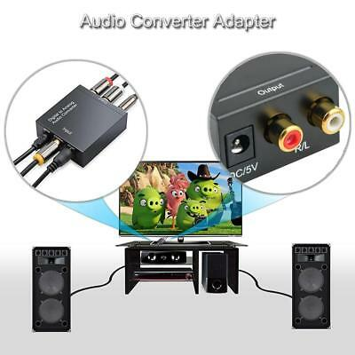 Digital Optical Coaxial Toslink Signal To Analog L/R Audio Converter Adapter RCA