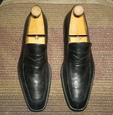 20b8736a099 Nordstrom Bologna Men Penny Loafers   15 M Solid Black Leather Made In  Italy.