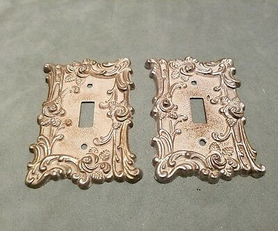2 Vintage 1967 American Tack & Hardware Co. Metal Rose Bush Switch Plate Covers