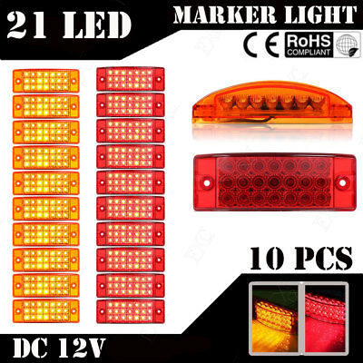 20x Trailer Caravan Amber/Red 21LED Rectangular Side Marker,Stop,Turn Tail Light