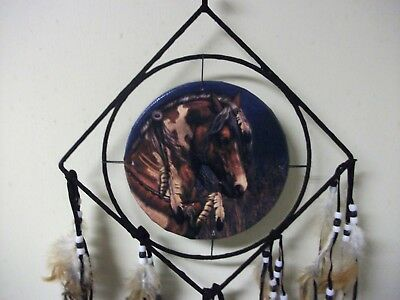 8.5 inch horse Dream Catcher With Beads, & Feathers Wall Decoration