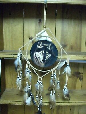 8.5 inch wolf Dream Catcher With Beads, & Feathers Wall Decoration