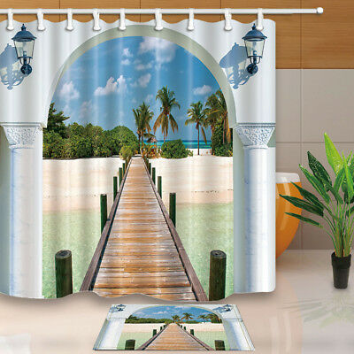 View From Window Of Seaside Shower Curtain Waterproof Fabric & 12 Hooks 71Inch