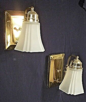 Vintage Pair Of Mid Century Brass Sconces With Frosted Shades