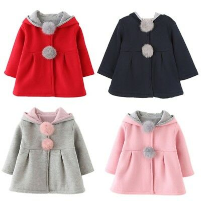 Infant Kids Girls Cotton Rabbit Ears Hooded Coat Outerwear Warm Jacket Clothes
