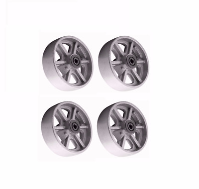 "Set of 4 Heavy Duty Cast Iron Spoked 8"" x 2"" Wheels 3/4"" to 1/2"" Roller Bearing"