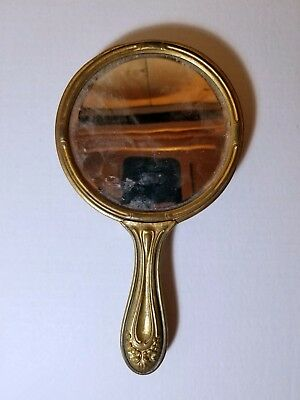 Hand Mirror Antique VICTORIAN Ornate Porcelain with Roses 1906 Authentic
