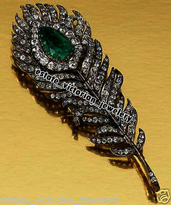 Retro Vintage 2.79Cts Pave Rose Cut Diamond Jewelry Emerald Feather Brooch Pin