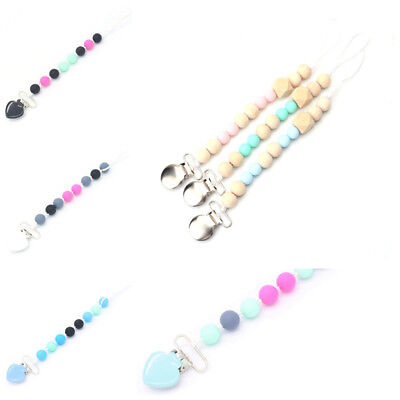 Baby Infant Silicone Pacifier Holder Clip Nipple Teether Dummy Beads Strap Chain