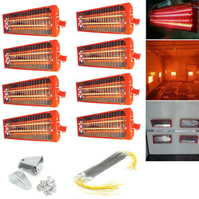 8 X 2KW Spray Baking Booth Infrared Red Paint Curing Light Heating Lamp Heater