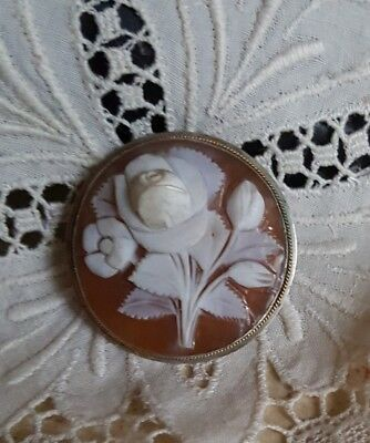 Antique European 800 Silver Carved Shell Cameo Vintage Shabby ROSES Floral 14k