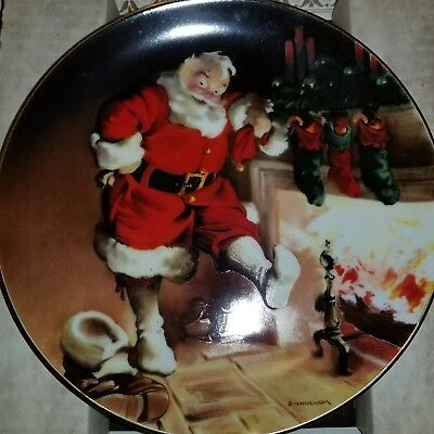 🎅Knowles Santa by the fire🔥Vintage Collectors plate 1989.          K-1#7dr