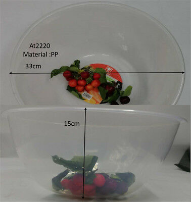 Salad Bowl Transparent BPA Free PP Plastic Large 33x 15cm