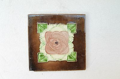 Antique Old Pink Flower Design Architectural Ceramic Tile Made In England NH3288