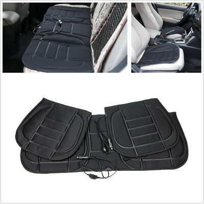 3Pcs Car Front+Rear Seat Cushion Covers Heated Warmer Pad Hot Heat Heater Winter