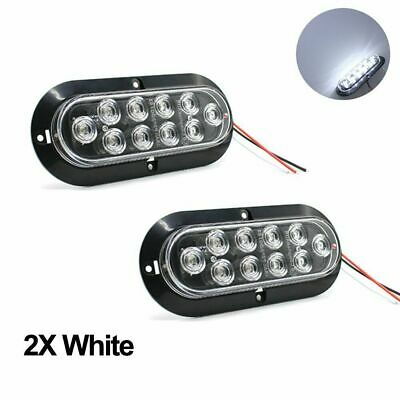 "2X 12V 10LED 6"" White Reverse Backup Light Car Truck Oval Surface Mount US Stock"