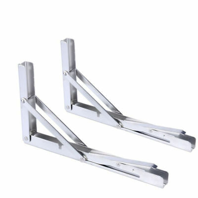 PACK OF TWO Stainless Bench Table Folding Shelf Bracket -Long Release Arm-EAN US