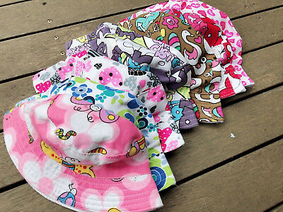 Girl kids Baby Children Beach Travel Cotton Floral Bucket Sun Hat Cap 1-3 years