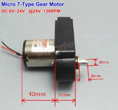Micro 7-Type Gear Motor DC 12V-24V 130RPM Slow Speed Large Torque Generater Tank