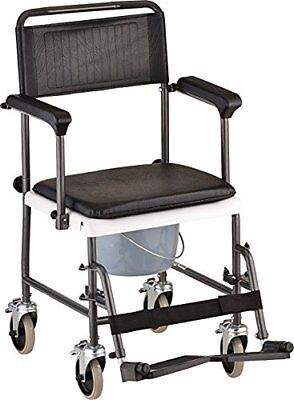 Transport Shower Bedside Commode Wheelchair Toilet Chair Aluminum Frame