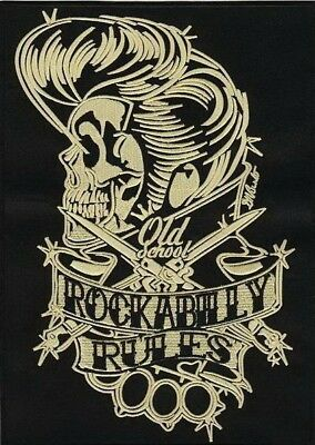 Rockabilly Rules Old School Duster Skull Embroidered Iron On Sew On Patch 4""