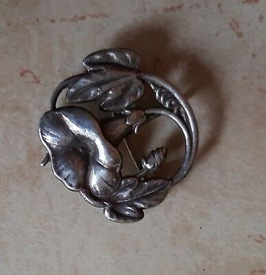 Antique Art Nouveau Sterling Silver Ladies Watch Fob Pin Morning Glory Flower
